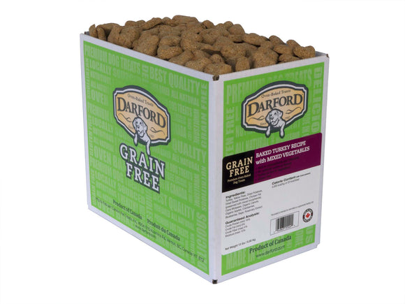 Darford Grain Free Baked Turkey Recipe with Mixed Vegetables Dog Treats 15 Lbs