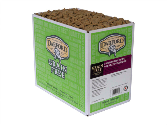 Darford Grain Free Baked Turkey Recipe Minis with Mixed Vegetables Dog Treats 15 Lbs