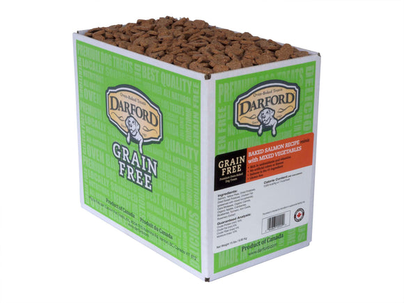 Darford Grain Free Baked Salmon Recipe Minis with Mixed Vegetables Dog Treats 15 Lbs