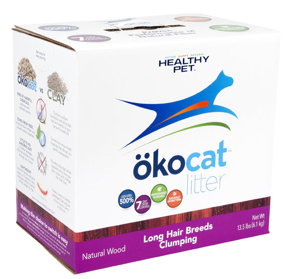 ökocat Long Hair Clumping Wood Natural Cat Litter 14.8 Lbs