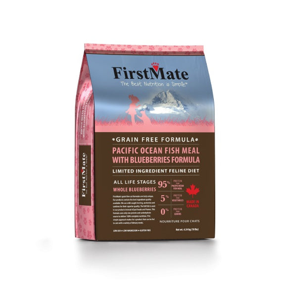 FirstMate Grain Free Limited Ingredient Diet Pacific Ocean Fish Meal with Blueberries Formula Cat Food 10 Lbs