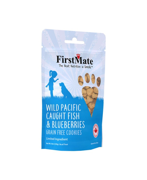 FirstMate Grain Free Wild Pacific Caught Fish & Blueberries Cookies Dog Treats 8 Oz