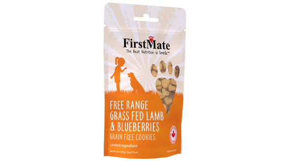 FirstMate Free Range Grass Fed Lamb & Blueberries Dog Treats 8 Oz