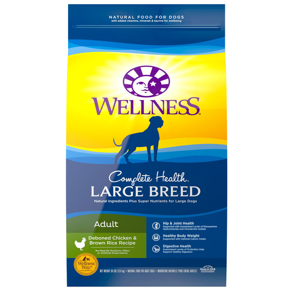 Wellness Complete Health Deboned Chicken & Brown Rice Recipe Large Breed Adult Dog Food 15 Lbs