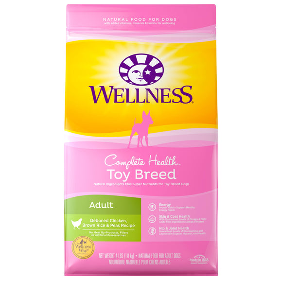 Wellness Complete Health Deboned Chicken, Brown Rice & Peas Recipe Toy Breed Adult Dog Food 4 Lbs