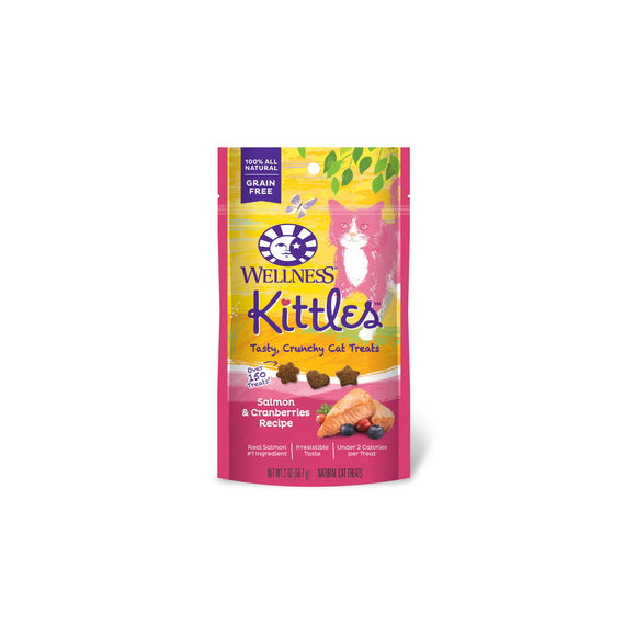Wellness Complete Health Kittles Grain Free Salmon & Cranberries Recipe Crunchy Cat Treats 2 Oz