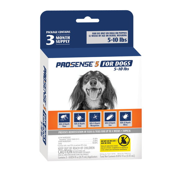 Pro·Sense 5 Flea & Tick Solutions for 5-10 Lbs Dog 0.0761 Oz