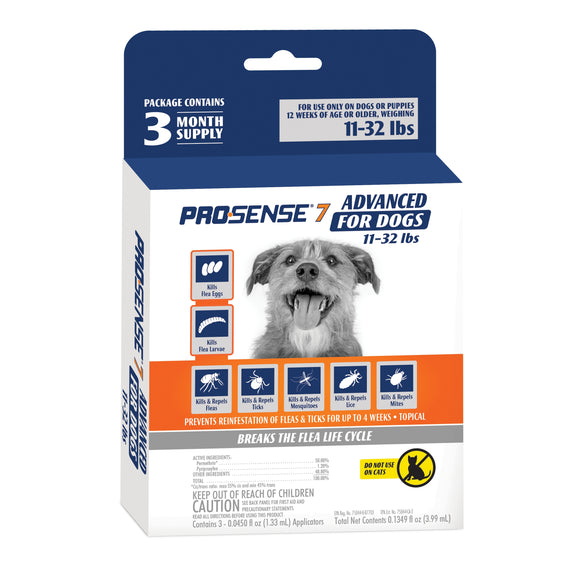 Pro·Sense 7 Advanced Flea & Tick Solution for 11-32 Lbs Dog 0.1349 Oz