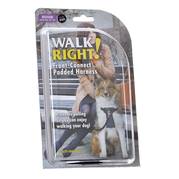Coastal Pet Walk Right Padded Harness - Black (6162 MED B)