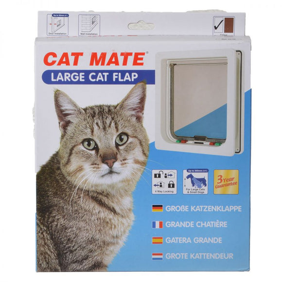 Cat Mate 4-Way Locking Self Lining Door-Large Cat Small Dog (221W)