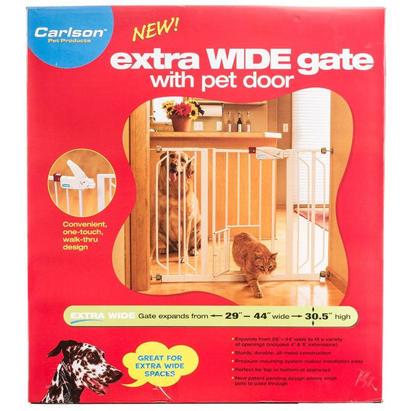 Carlson Pet Gates Extra Wide Walk Thru Gate Extension with Pet Door (0937PW)