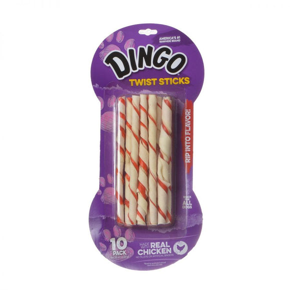Dingo Twist Sticks Rawhide Chew with Chicken in the Middle (45021)