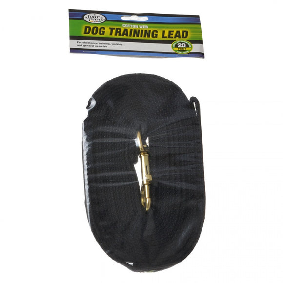 Four Paws Cotton Web Dog Training Lead - Black (100203562)