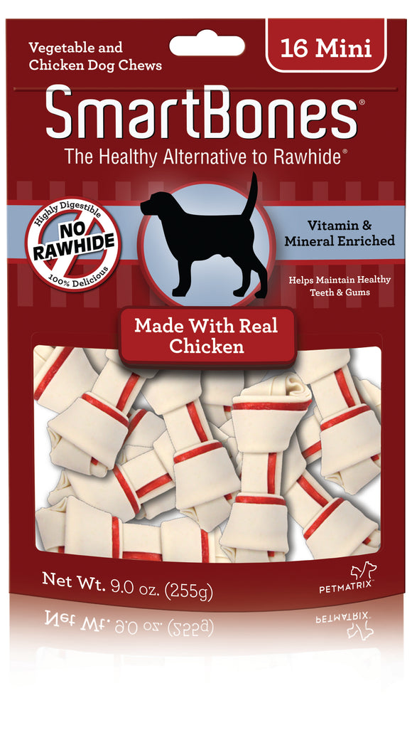 SmartBones Mini Rawhide Free Chicken Flavored Dog Chews 16 Count