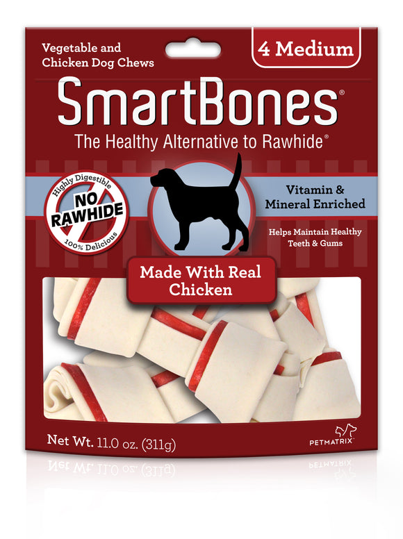 SmartBones Medium Chicken Classic Bone Chews 4 Count