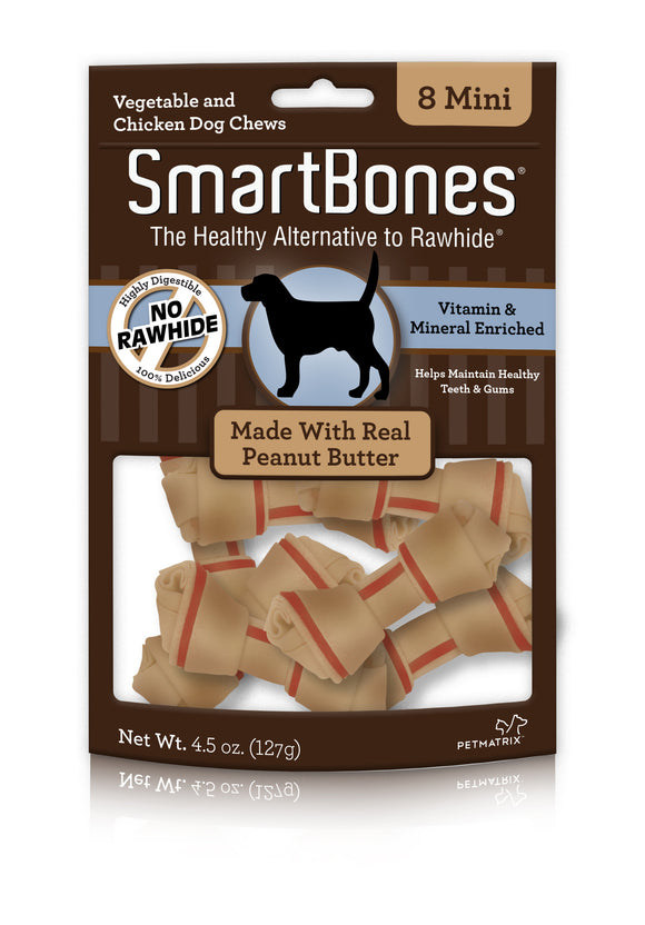 SmartBones Mini Peanut Butter Classic Bone Chews 8 Count