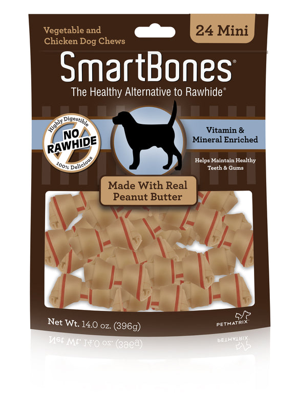 SmartBones Mini Peanut Butter Classic Bone Chews 24 Count
