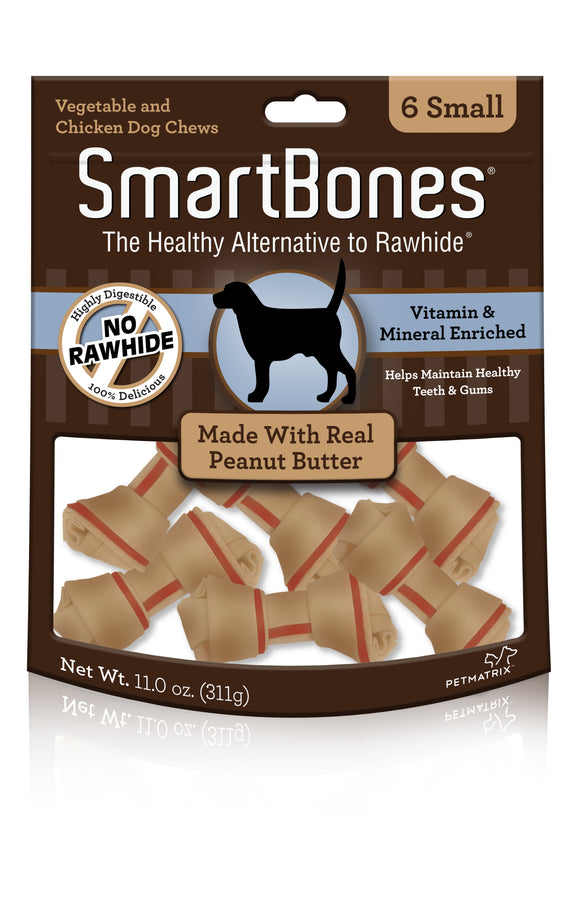 SmartBones Small Peanut Butter Classic Bone Chews 6 Count