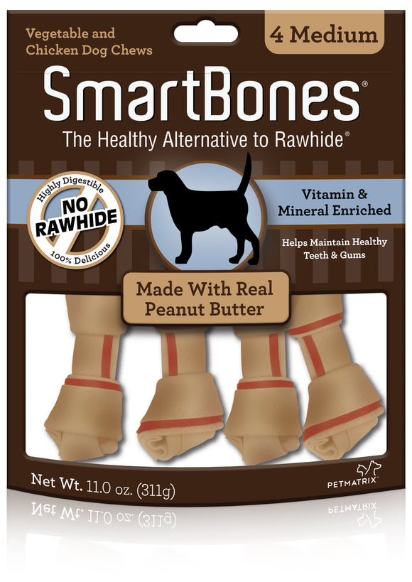 SmartBones Medium Peanut Butter Classic Bone Chews 4 Count