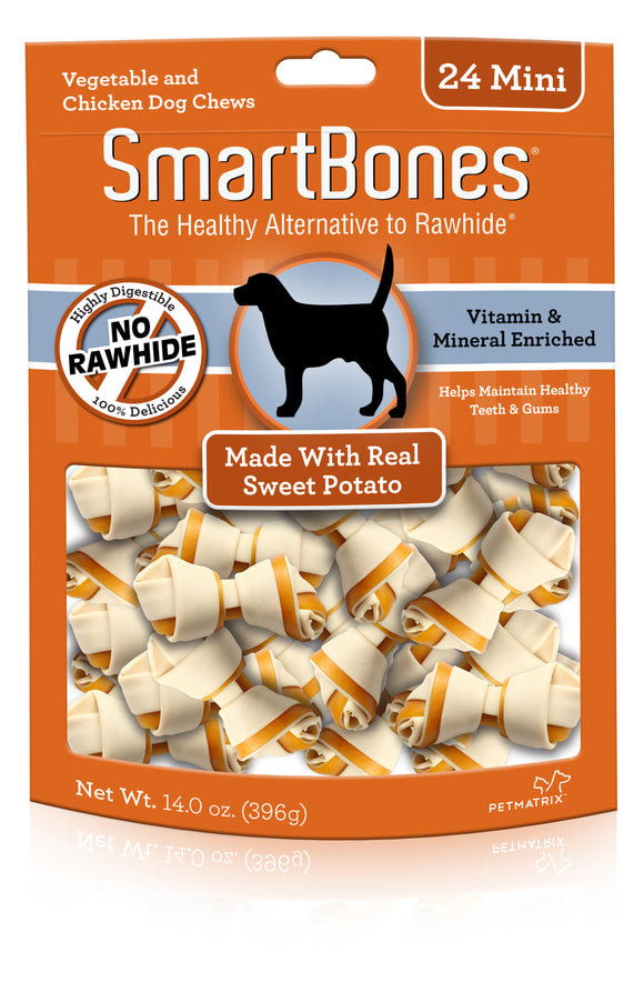 SmartBones Mini Sweet Potato Classic Bone Dog Chew 24 Count