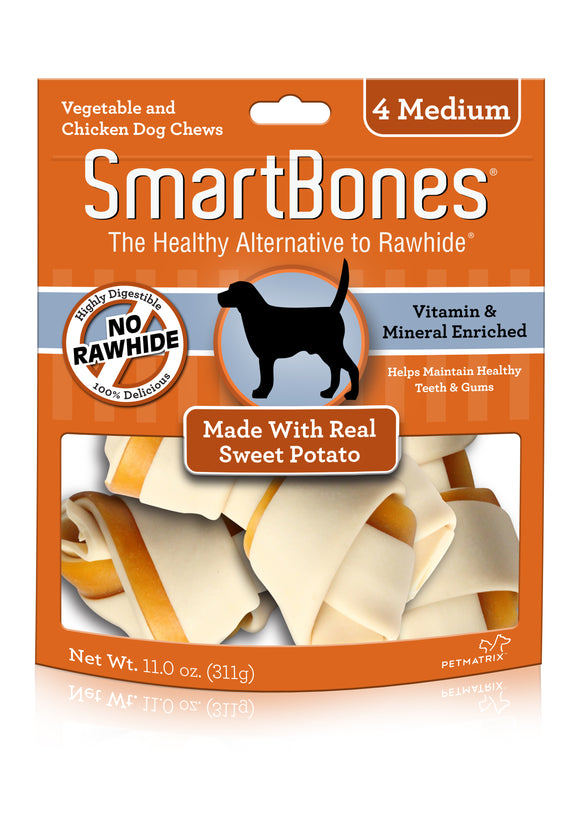SmartBones Medium Sweet Potato Classic Bone Dog Chew 4 Count