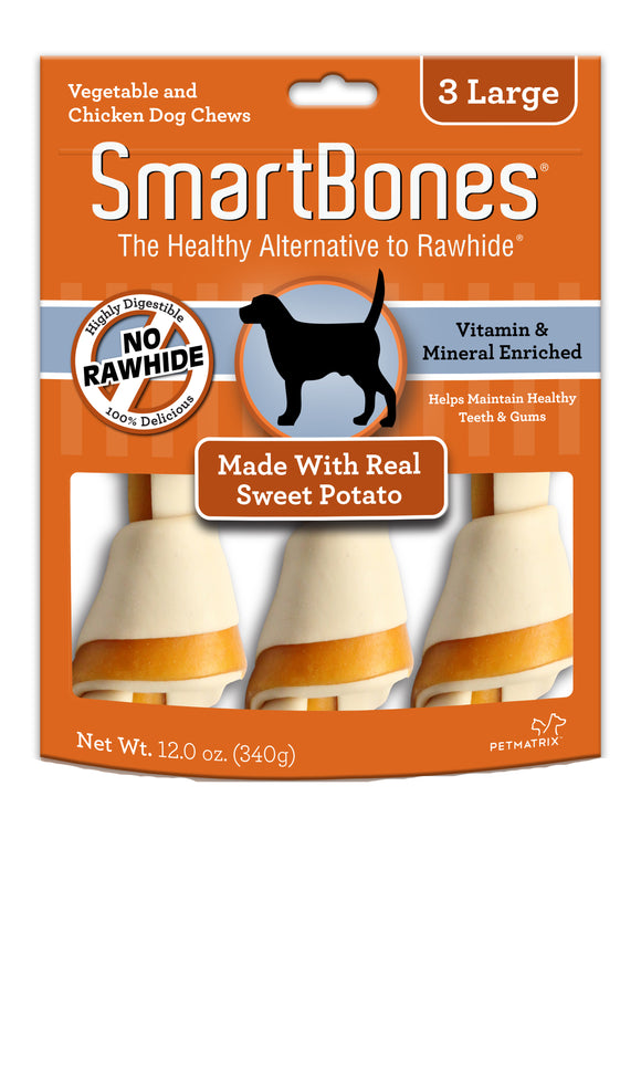 SmartBones Large Sweet Potato Classic Bone Dog Chew 3 Count