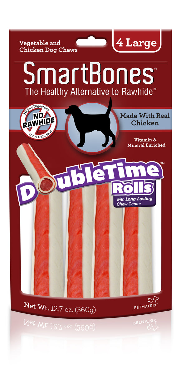 SmartBones Doubletime Large Rolls Chicken Dog Chew 4 Count