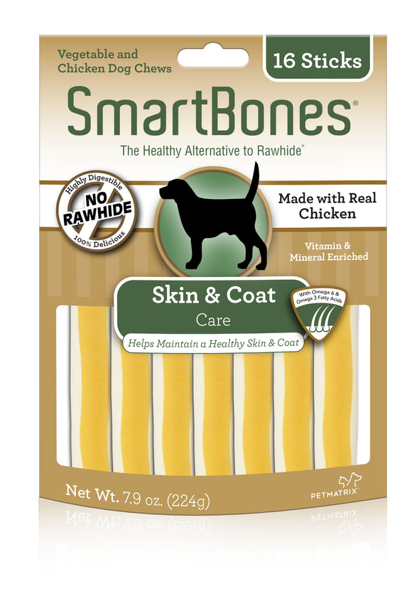 SmartBones Skin & Coat Care Chicken Sticks Dog Chew 16 Count