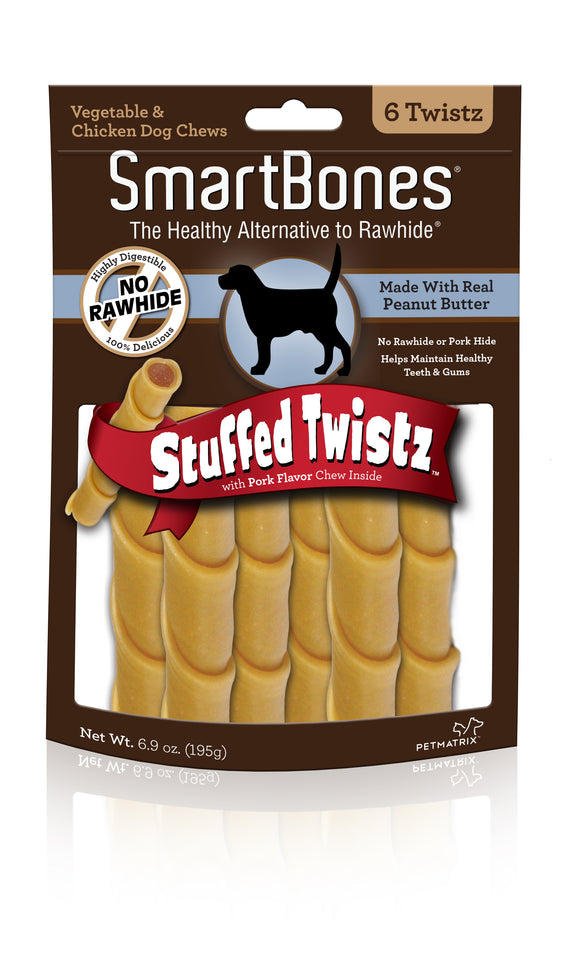SmartBones Stuffed Twistz Peanut Butter Dog Chew 6 Count