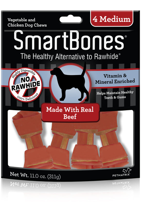 SmartBones Medium Beef Classic Bone Dog Chew 4 Count