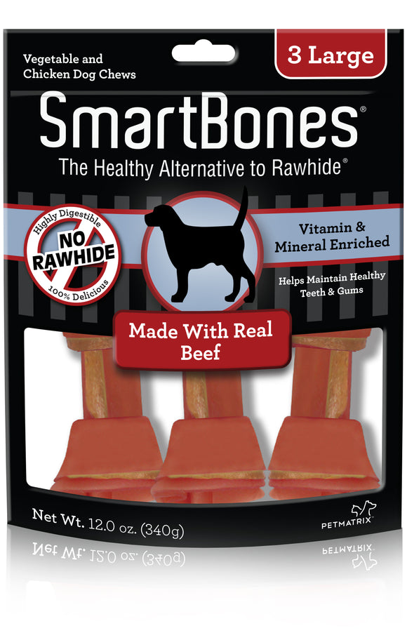 SmartBones Large Beef Classic Bone Dog Chew 3 Count