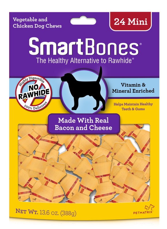 SmartBones Mini Bacon & Cheese Classic Bone Dog Chew 24 Count