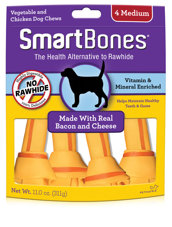 SmartBones Medium Bacon & Cheese Classic Bone Dog Chew 4 Count