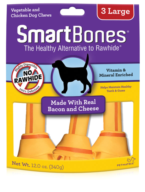 SmartBones Large Bacon & Cheese Classic Bone Dog Chew 3 Count