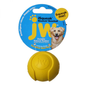 JW Pet iSqueak Bouncing Baseball Rubber Dog Toy (440035)