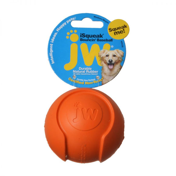 JW Pet iSqueak Bouncing Baseball Rubber Dog Toy (440036)