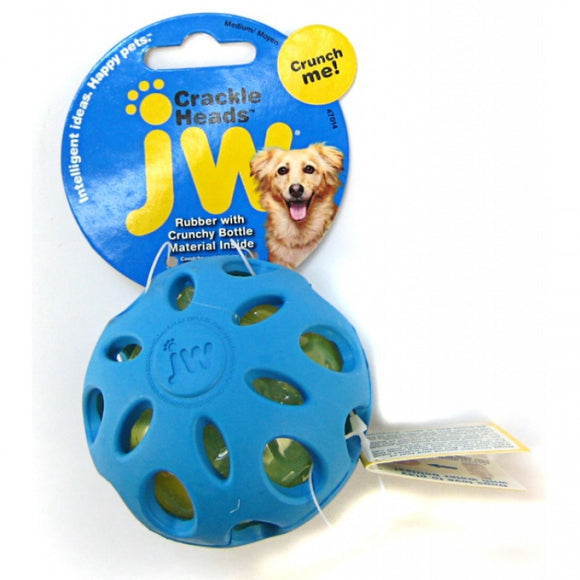 JW Pet Crackle Heads Ball Dog Chew Toy - Assorted (47014)