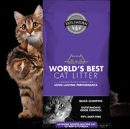 World's Best Cat Litter Lavender Scented Multiple Cat Clumping Formula Cat Litter 28 Lbs