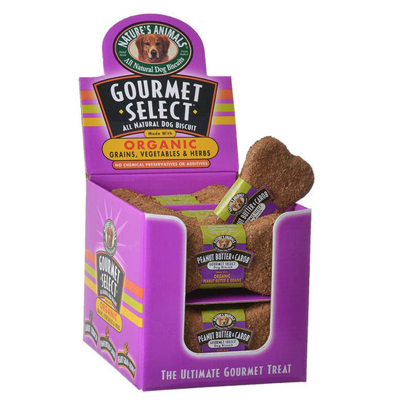 Natures Animals Gourmet Select Organic Dog Bone - Peanut Butter & Carob Flavor (488)