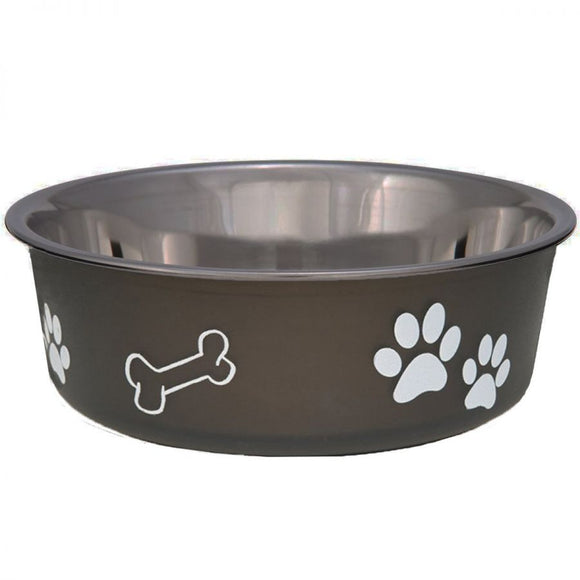 Loving Pets Stainless Steel & Espresso Dish with Rubber Base (7404)
