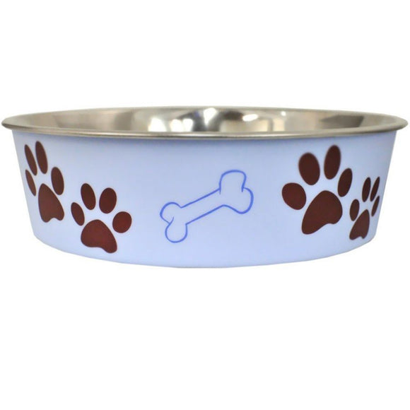 Loving Pets Stainless Steel & Light Blue Dish with Rubber Base (7408)