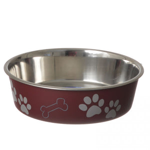Loving Pets Stainless Steel & Merlot Dish with Rubber Base (7413)