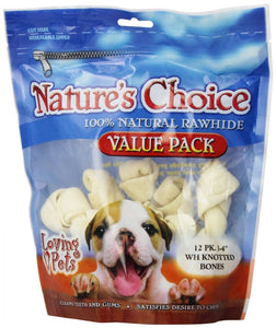 Loving Pets Nature's Choice 100% Natural Rawhide Knotted Bones Value Pack (4960)