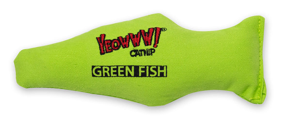 Ducky World Yeowww! Fish Catnip Toy Green Color 7 Inch