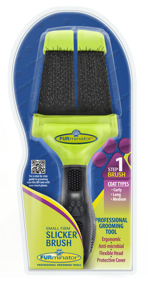 Furminator Firm Slicker Brush for Cat & Dog Small