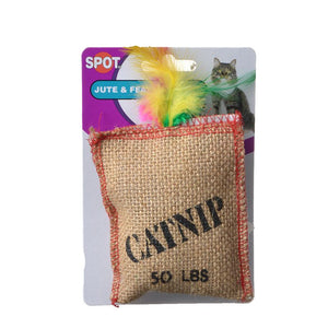 Spot Jute & Feather Sack with Catnip Cat Toy (2984)