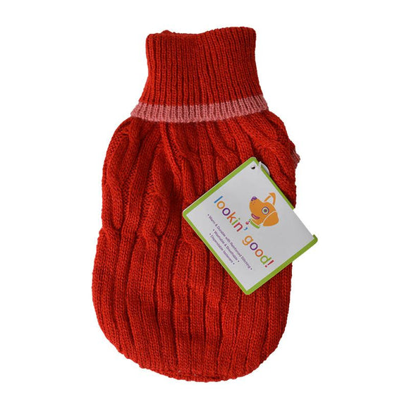 Fashion Pet Cable Knit Dog Sweater - Red (8RDXS)