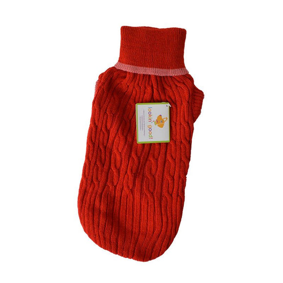 Fashion Pet Cable Knit Dog Sweater - Red (8RDM)