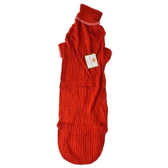 Fashion Pet Cable Knit Dog Sweater - Red (8RDXXL)