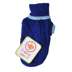 Fashion Pet Cable Knit Dog Sweater - Blue (8CBXS)